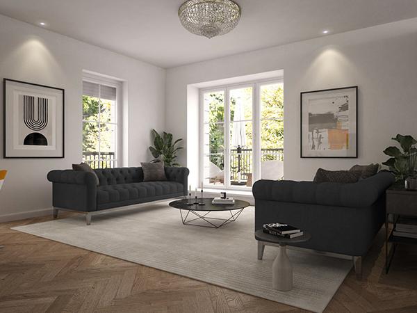 Visualisierung eines Wohnzimmers